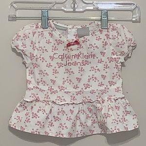 Calvin Klein Baby Girl White Floral Shirt 3-6mo